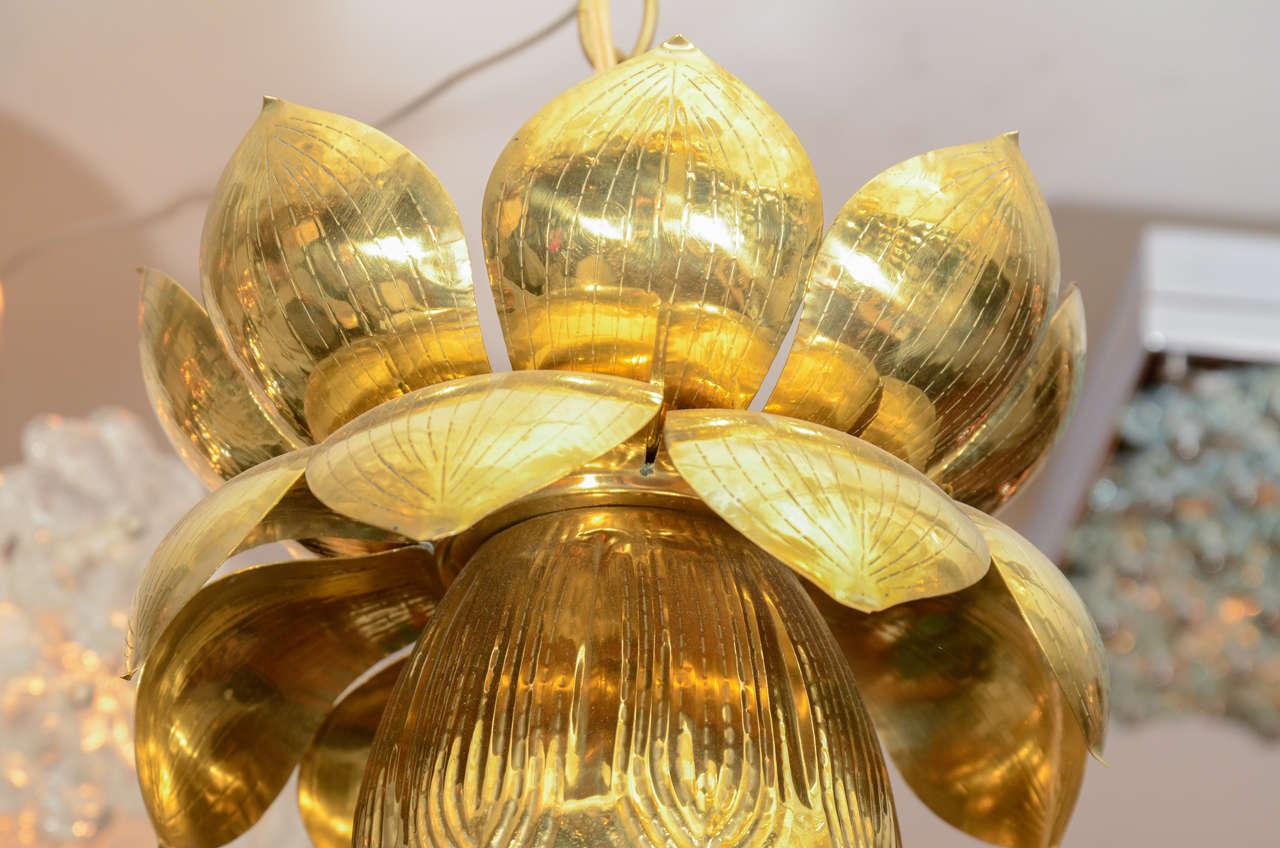 Small Brass Lotus Form Pendant Ceiling Fixtures By Feldman 5