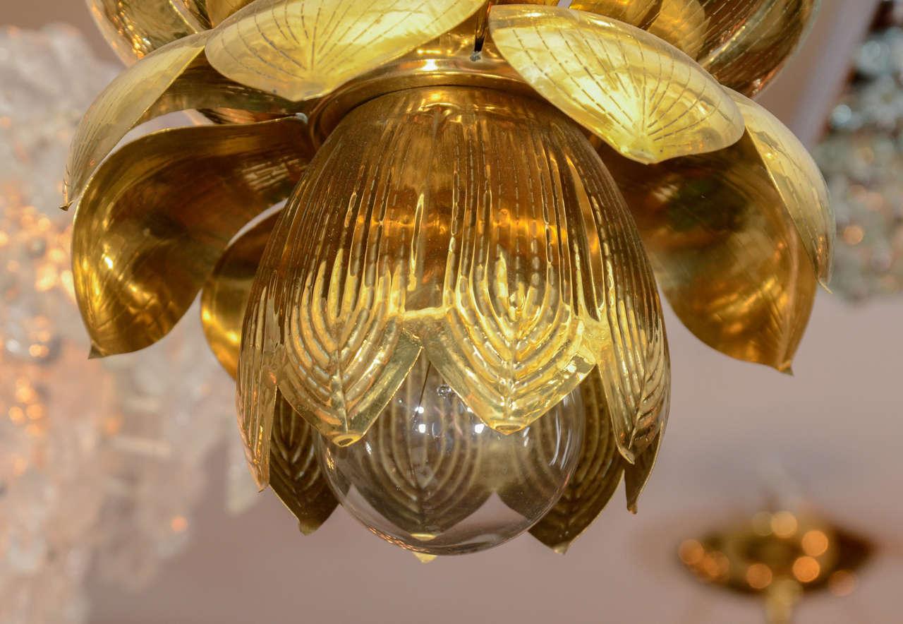 Small Brass Lotus Form Pendant Ceiling Fixtures By Feldman 6