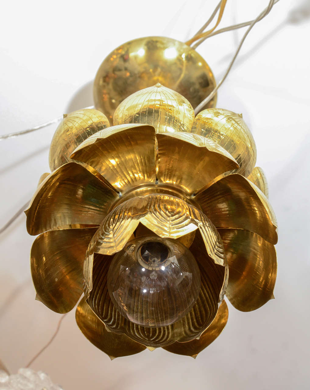 Small Brass Lotus Form Pendant Ceiling Fixtures By Feldman 7