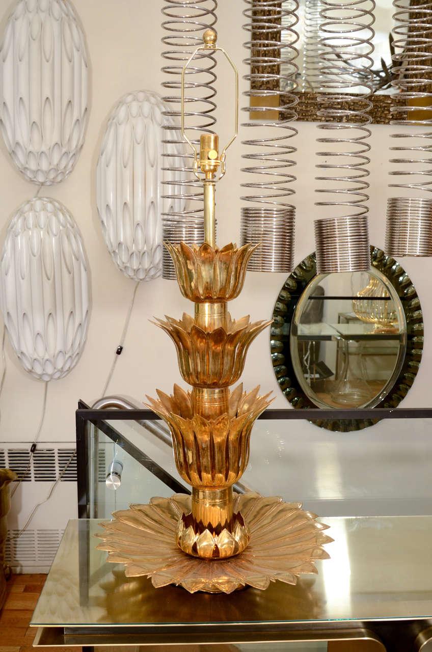 Single brass palmette table lamp by Feldman.