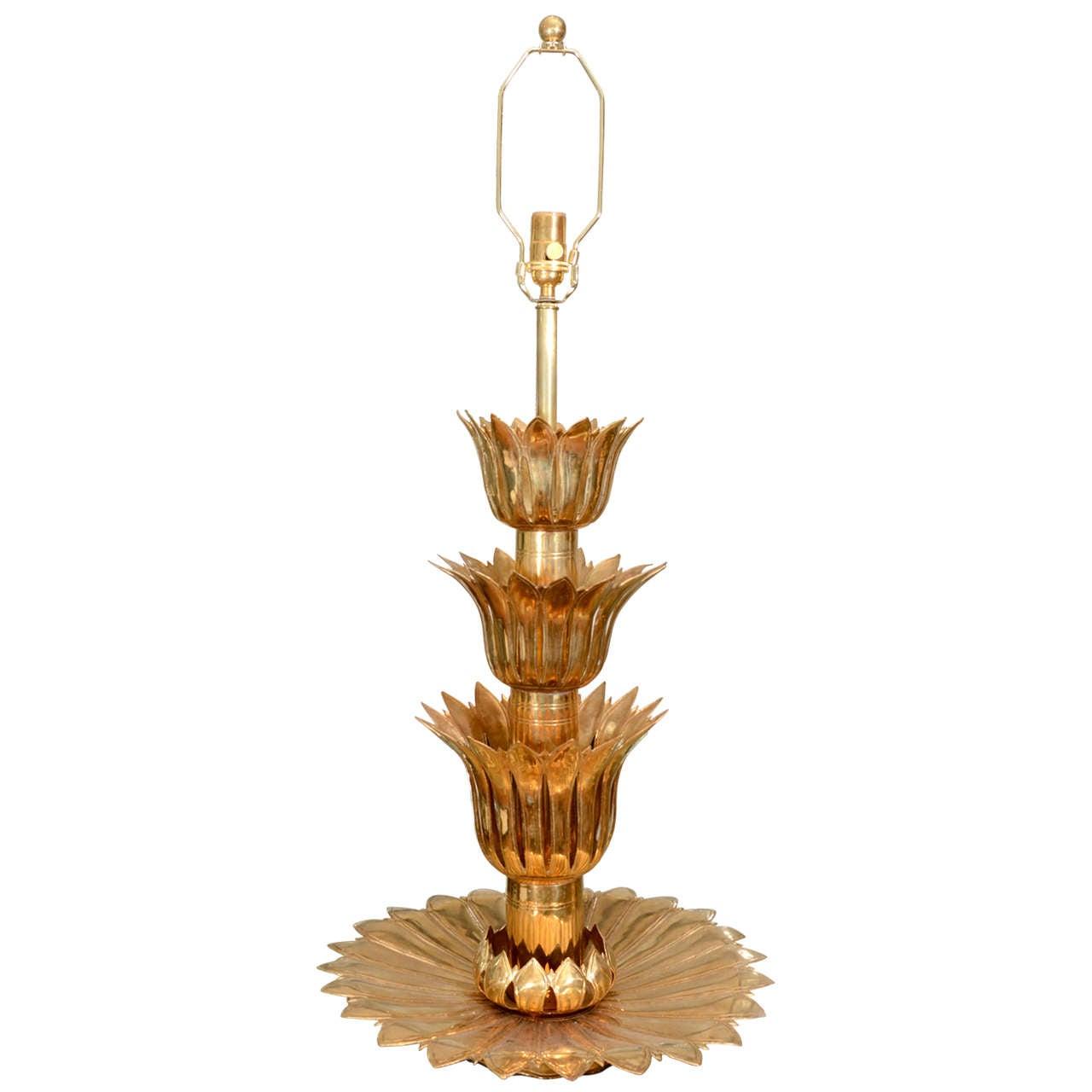 Single Brass Palmette Table Lamp by Feldman For Sale