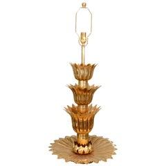 Single Brass Palmette Table Lamp by Feldman