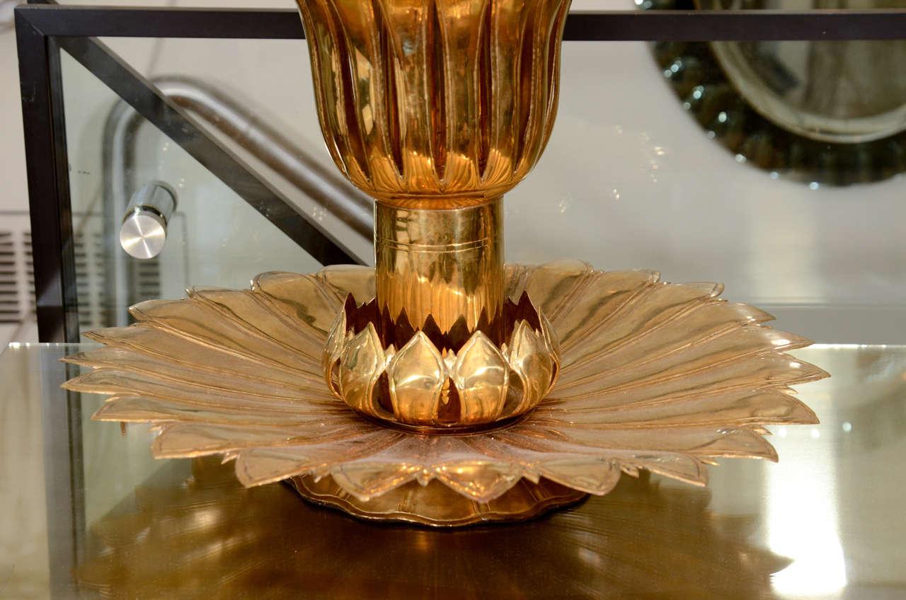 Mid-Century Modern Single Brass Palmette Table Lamp by Feldman For Sale