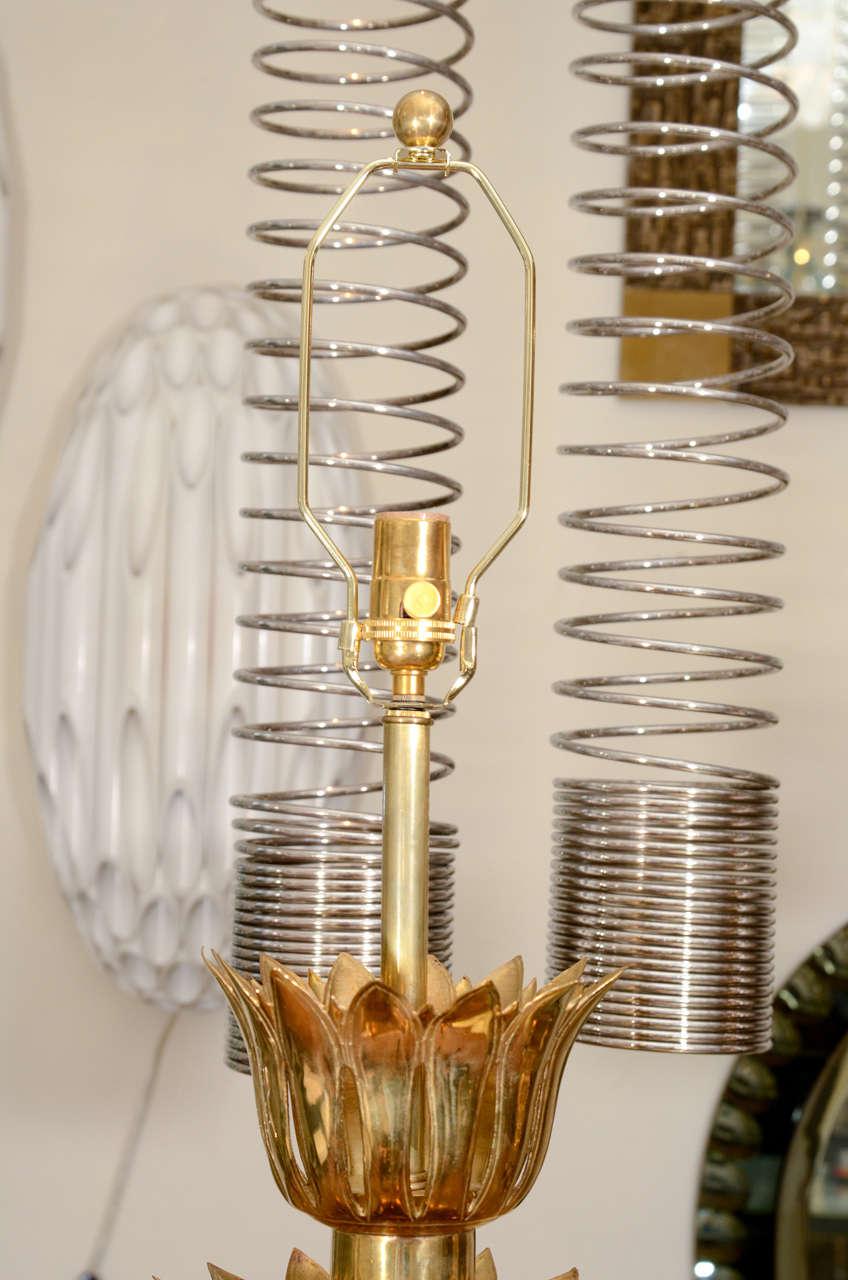 American Single Brass Palmette Table Lamp by Feldman For Sale