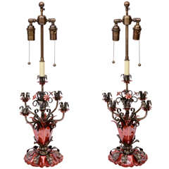 Floral Moitf, Patinated Iron and Enamel Five Branch Candelabra Lamps