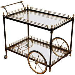 1970s Italian Blackened Steel & Brass Bar Cart