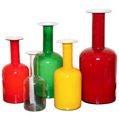 Collection of Holmegaard Gulvases