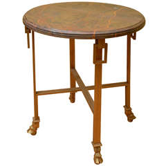 Marble-Top Table with Bronze Base