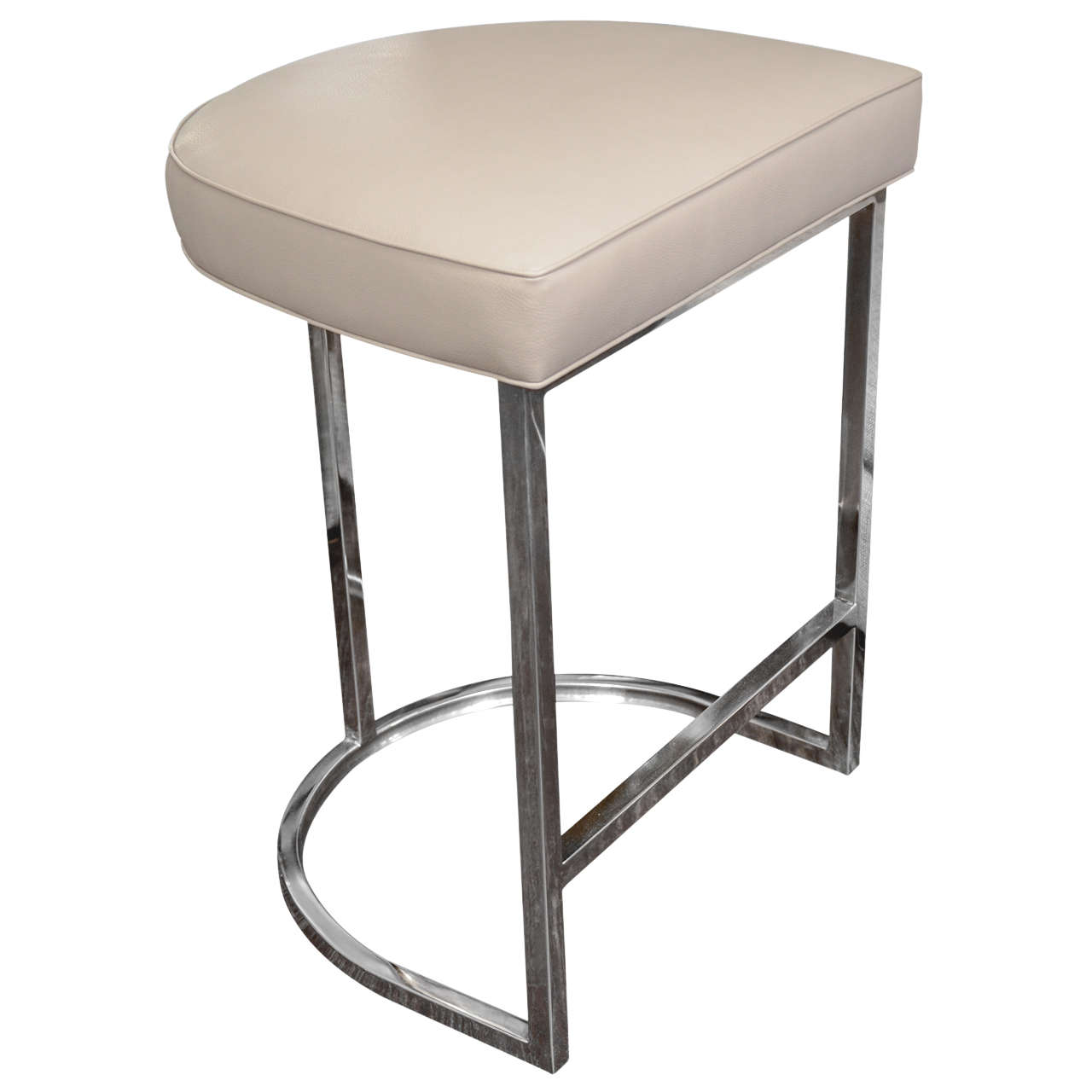 Single Bar Stool With Mirrored Stainless Steel Base At 1stdibs