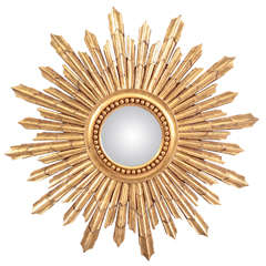 Large Gilt Sunburst Mirror, Late 20th Century