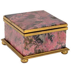 Pink Malachite Jewelry Box, Early 20th Century