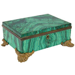 19th C Russian Malachite Jewelry Box