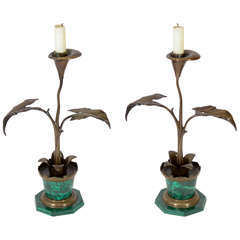 Pair Art Nouveau Bronze & Malachite Candlesticks
