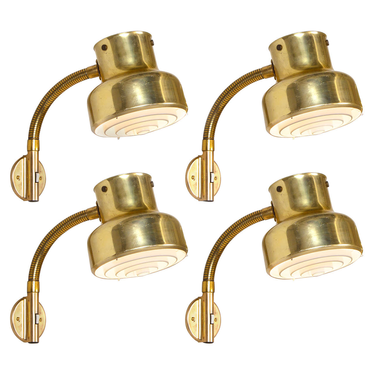 Large Quantity Brass Colored Wall Lights by Anders Pehrson for Atelje Lyktan at 1stdibs