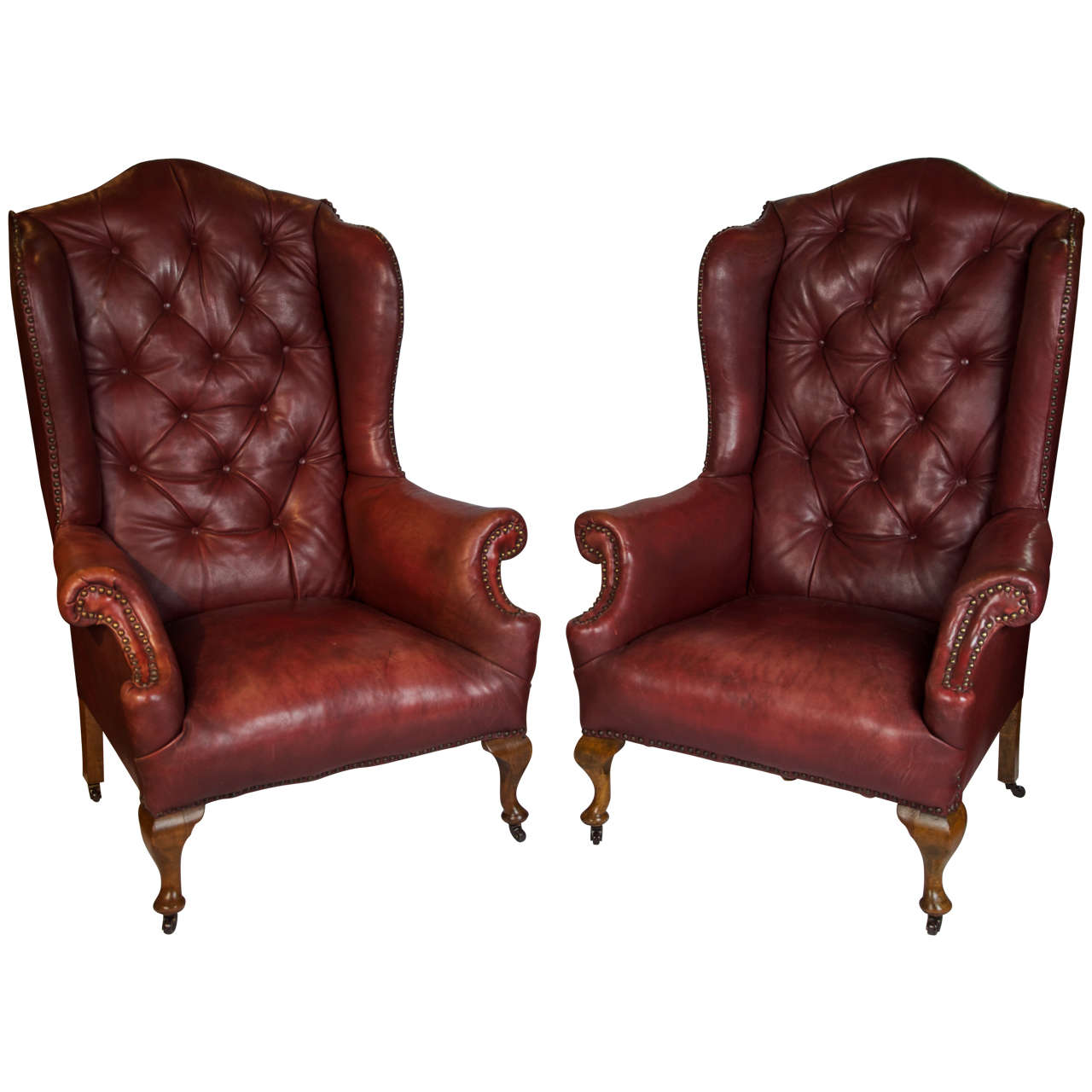 Pair of Early 20th Century Red Leather Wing Back Chairs at 1stdibs