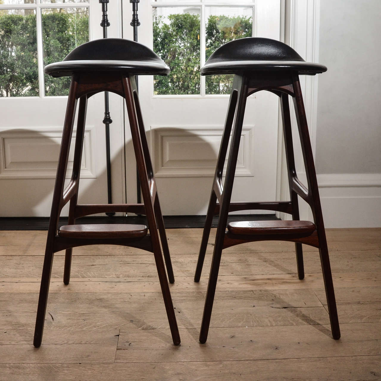Set Of Six 1960 S Erik Buch Barstools In Rosewood And