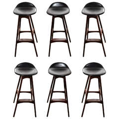 Set of Six 1960's Erik Buch Barstools in Rosewood and Leather