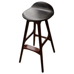 1970s Erik Buch Barstool in Rosewood and Black Leather