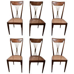 Set of Six 1950's Paolo Buffa Dining Chairs in Rosewood with Brass Details