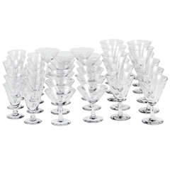 Set of Mid-Century Etched Crystal Glasses