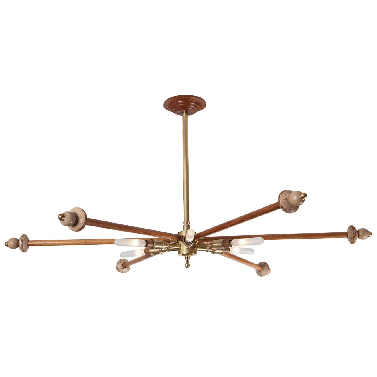 Wood and Brass Sputnik Light Fixture