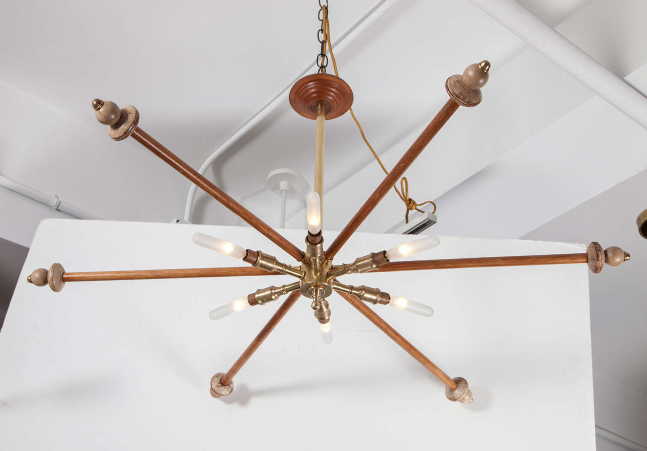 Mid-Century Modern Wood and Brass Sputnik Light Fixture For Sale
