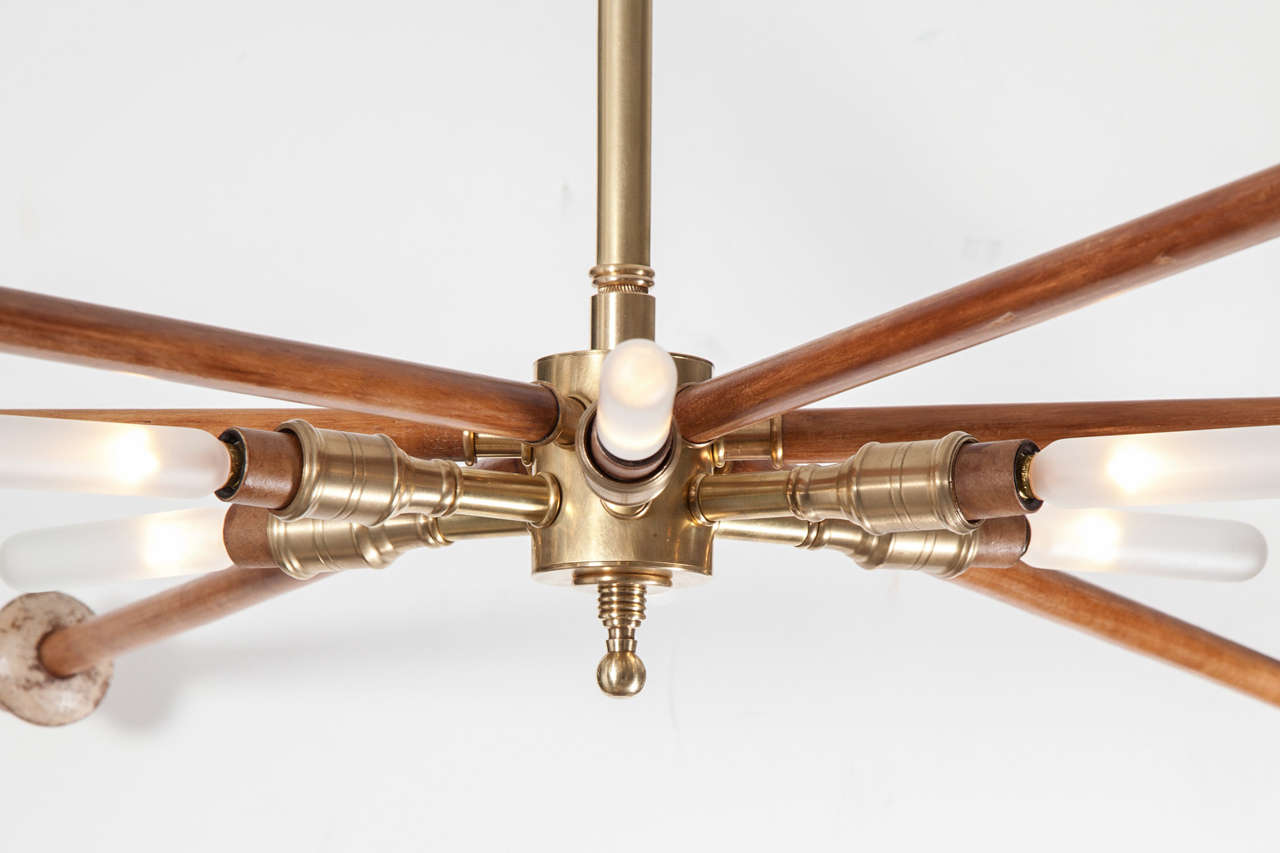 Wood and Brass Sputnik Light Fixture In Excellent Condition For Sale In New York, NY