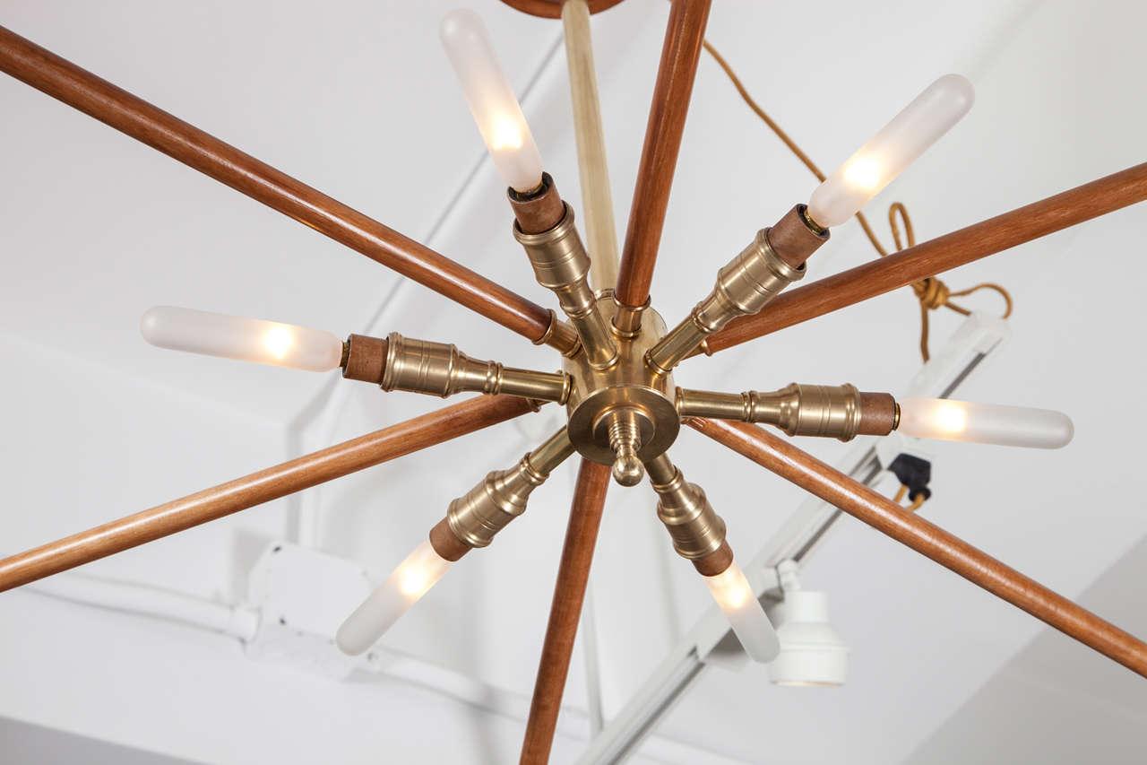 Wood and Brass Sputnik Light Fixture For Sale 1