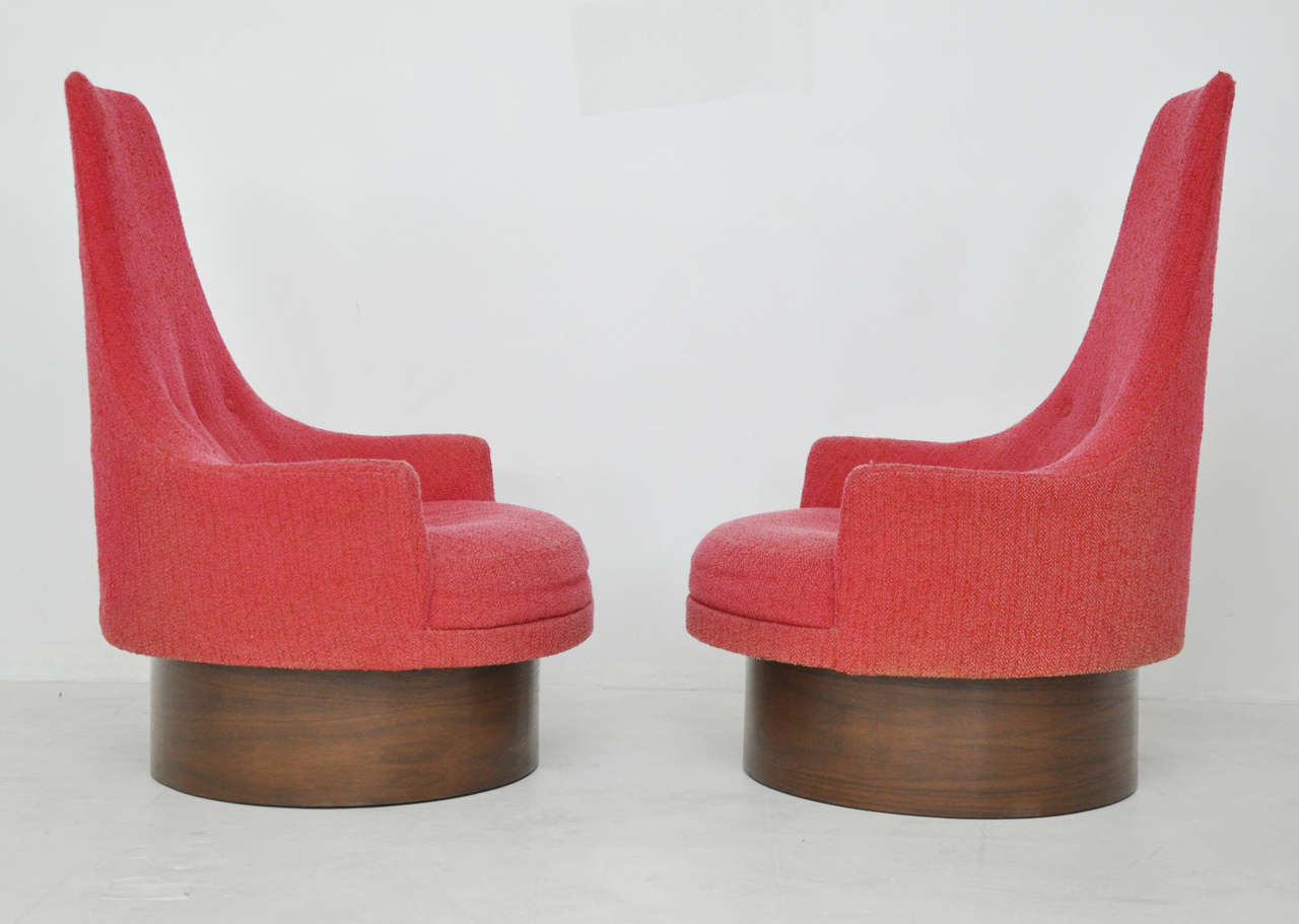 High Back Swivel Chairs by Adrian Pearsall In Excellent Condition For Sale In Chicago, IL