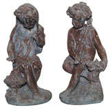 Pair of 19th Century Lead Garden Statues of Maidens