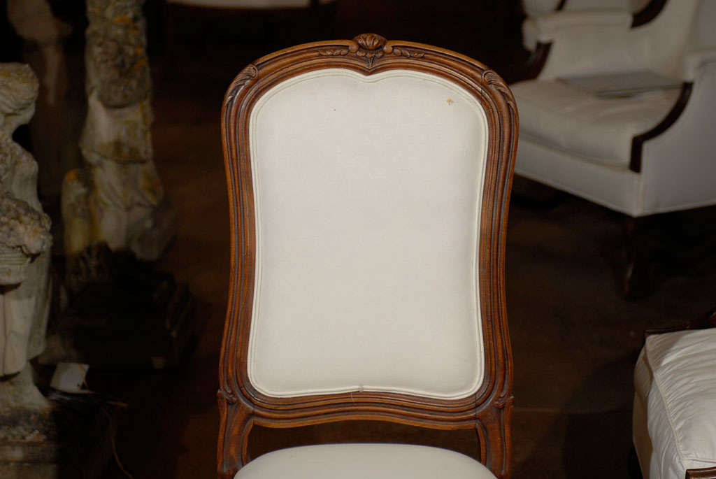 Upholstery Set of Six French Louis XV Style 19th Century Walnut Dining Room Side Chairs For Sale