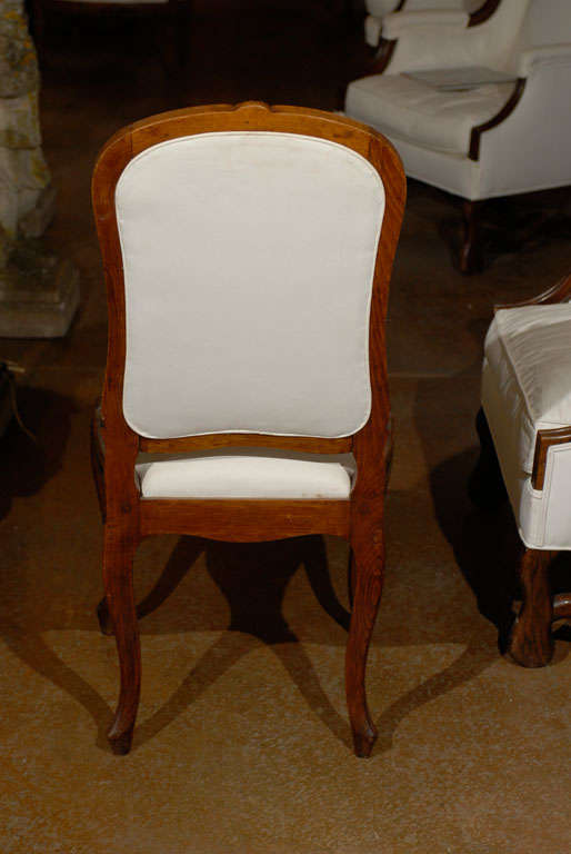 Set of Six French Louis XV Style 19th Century Walnut Dining Room Side Chairs For Sale 2