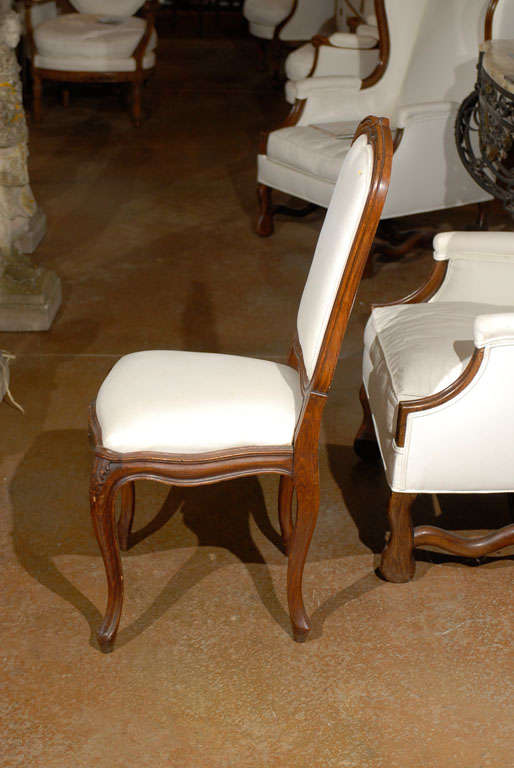 Set of Six French Louis XV Style 19th Century Walnut Dining Room Side Chairs For Sale 3