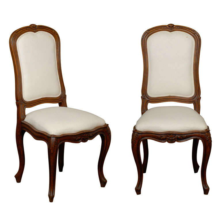 Set of Six French Louis XV Style 19th Century Walnut Dining Room Side Chairs