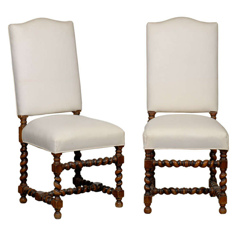Charmant Set Of Six 19th Century French Barley Twist Chairs For Sale