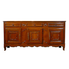 French 18th Century Walnut Enfilade, Three Drawers and Doors and Scalloped Apron
