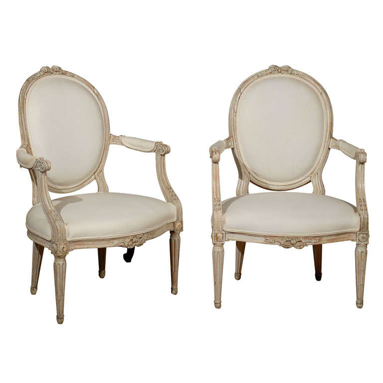 Pair of French Louis XVI Style 19th Century Painted Fauteuils with Oval Backs