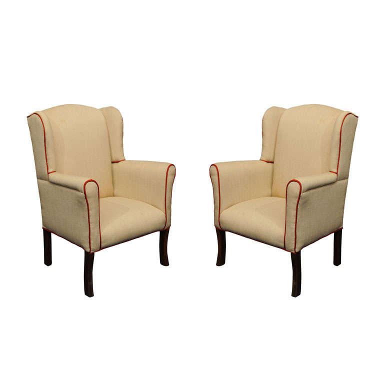 19TH C PAIR of CHILDREN S UPHOLSTERED WINGBACK CHAIRS at