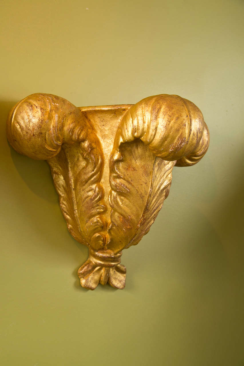 French Pair of Jansen Gilded Plaster Wall Sconces For Sale