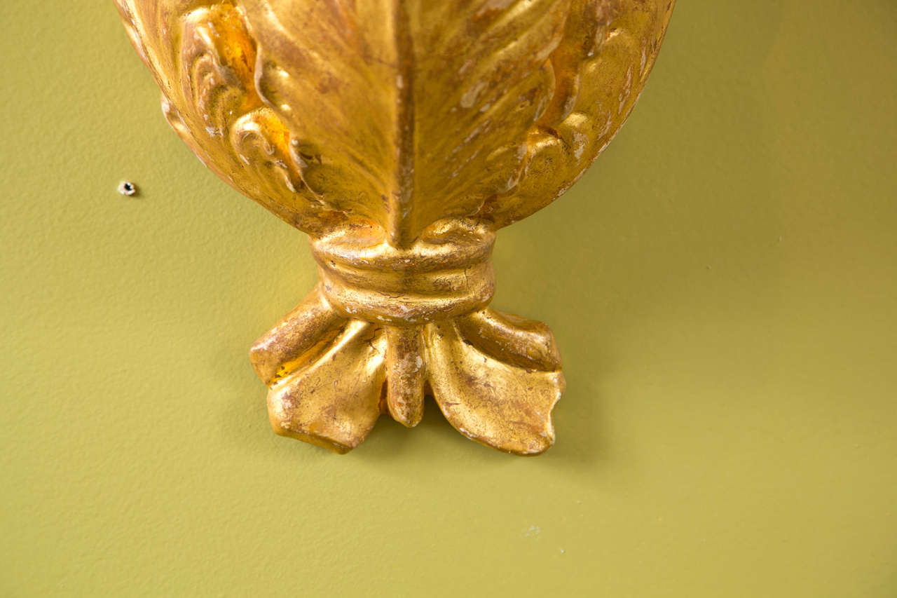 Mid-20th Century Pair of Jansen Gilded Plaster Wall Sconces For Sale