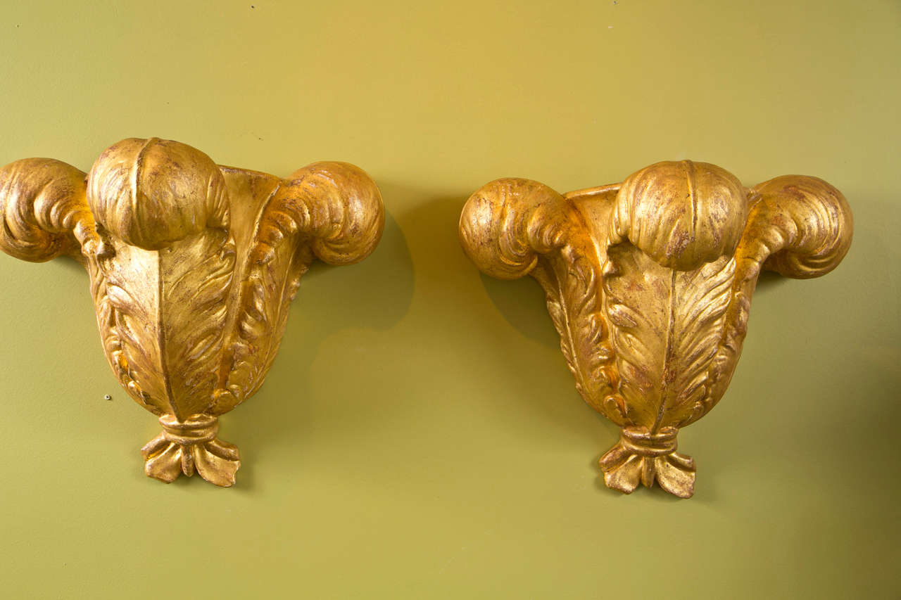 Pair of Jansen Gilded Plaster Wall Sconces For Sale 2