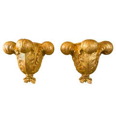 Paar Jansen Wandleuchten aus Vergoldetem Gips