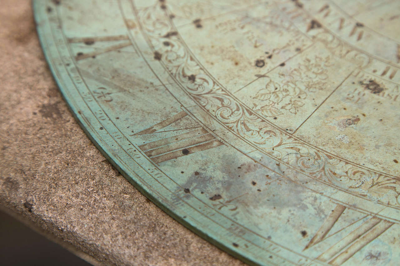 Unknown Barker & Sons Bronze and Limestone Sundial For Sale