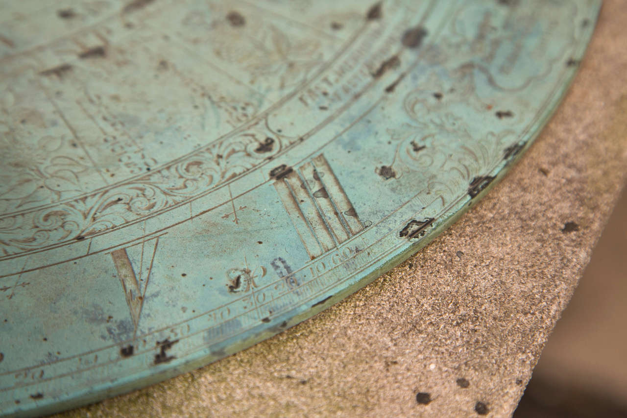19th Century Barker & Sons Bronze and Limestone Sundial For Sale