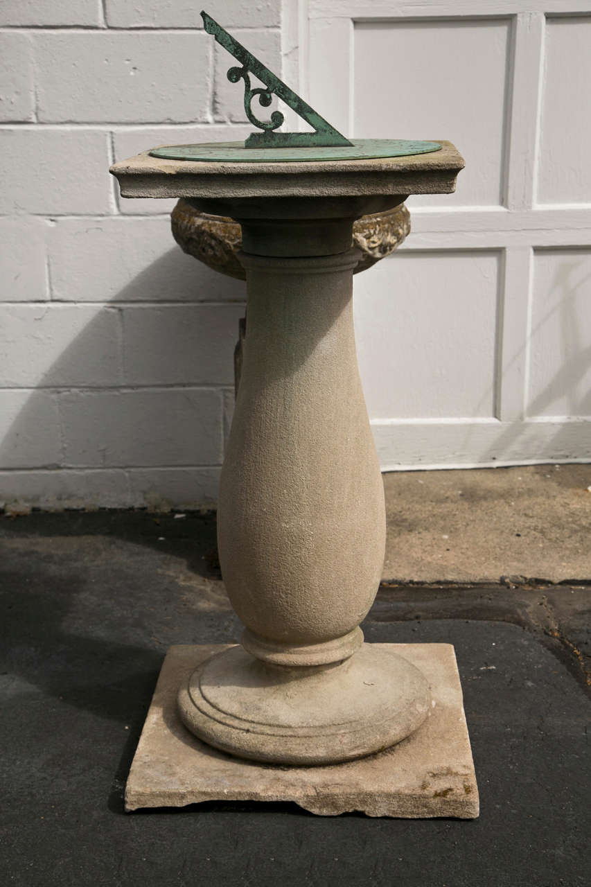 Barker & Sons Bronze and Limestone Sundial For Sale 4