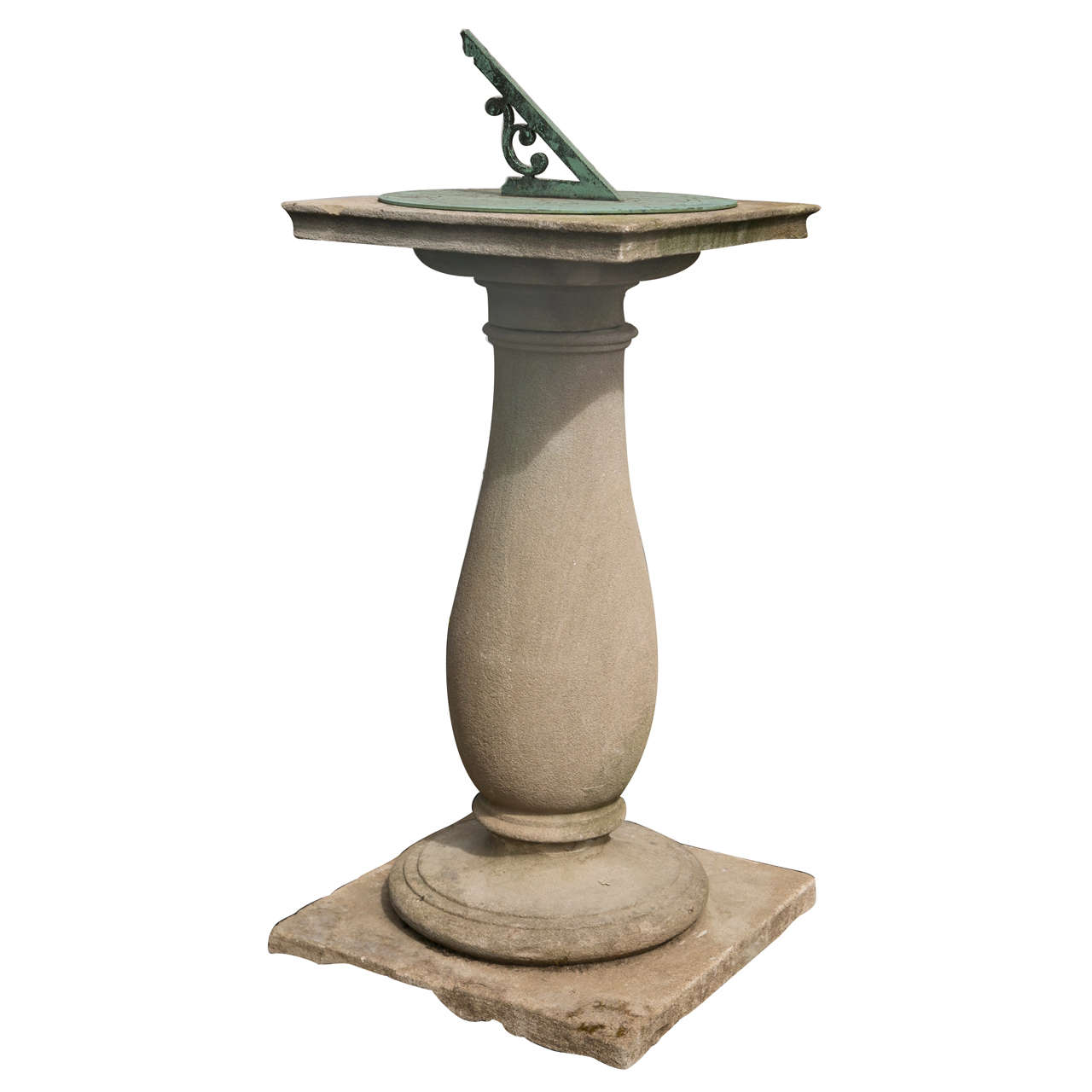 Barker & Sons Bronze and Limestone Sundial For Sale