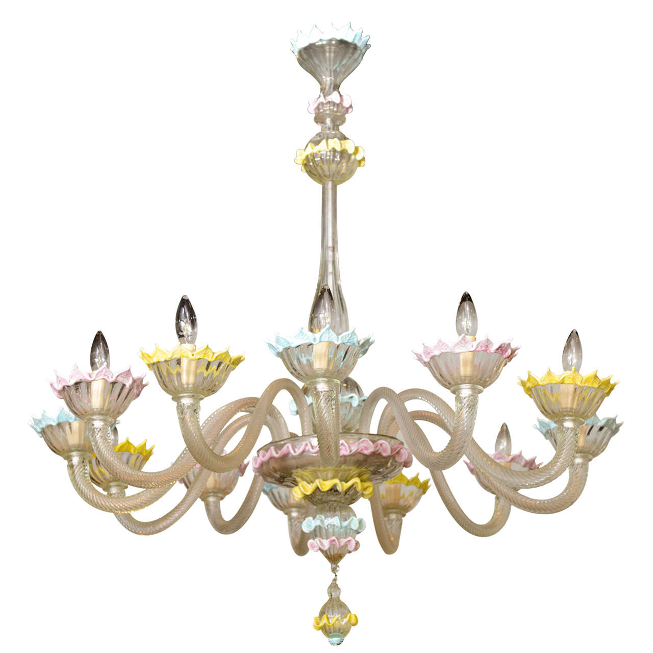 Fine Pair of Barovier & Toso Clear and Colored Glass 12-Light Chandeliers, 1940s