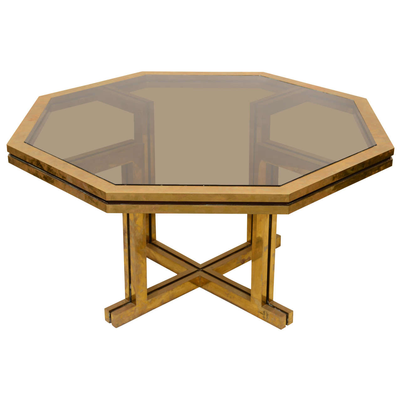 Willy rizzo for maison jansen octagonal brass table at 1stdibs for Table willy rizzo