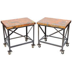 Pair of Vintage Industrial Work Tables on Casters