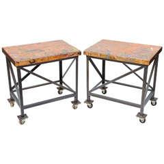Pair of Vintage Industrial Work Tables on Casters